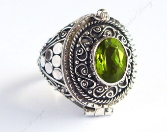 Green Peridot Size 7, 8, 9 Poison Ring Locket Sterling Silver JD33 8mm x 6mm Stone