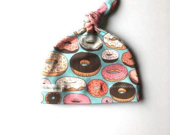 Organic baby knot hat- doughnuts baby knot hat