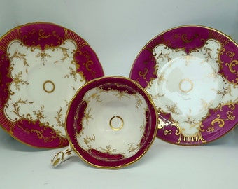 Antique Victorian bone china trio - cup, saucer and tea plate in pink with gold decoration