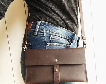Brown leather crossbody bag, brown leather purse, crossbody purse, leather shoulder bag, everyday bag leather purse,fanny pack