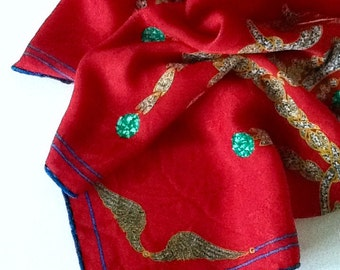 Must de Cartier silk damask scarf Jeweled Brooches vintage 80s free shipping USA