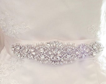 Bridal sash ivory bridal belt rhinestone bridal sash applique sash wedding dress sash dress belt crystal wedding sash bridal accessories