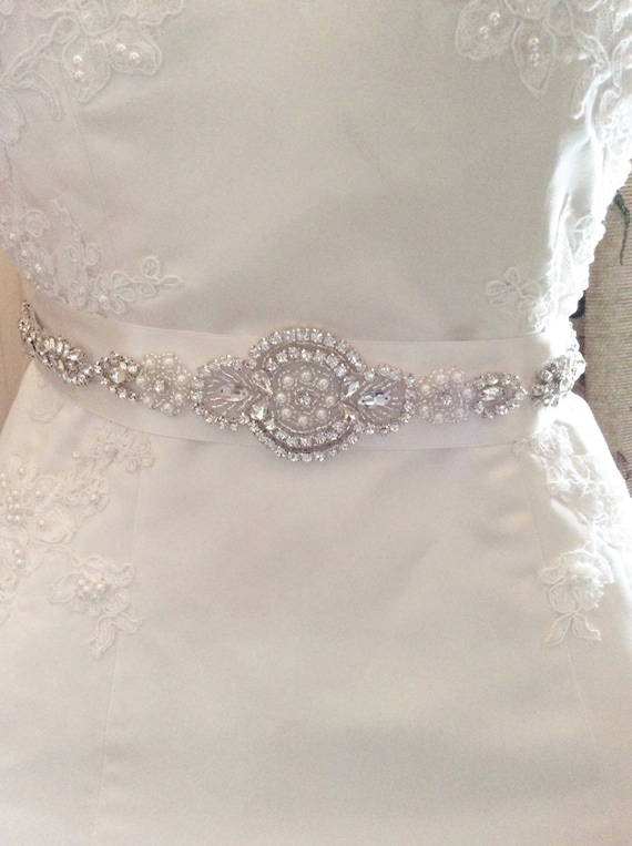 Bridal belt wedding dress sash rhinestone pearl bridal belt for Wedding dress sash with rhinestones