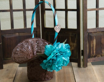 Turquoise Peony Flower Brown flower girl basket you pick the color of ribbon and flower plus initials