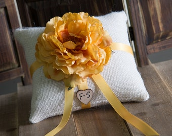 Gold Peony ring bearer pillow. Customize with flower and bride and groom initials