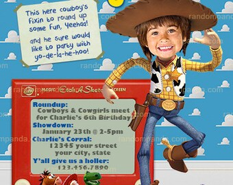 ON SALE Personalize Toy Story Invitation, BE Woody Cowboy, Roundup Party Invite