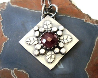 Pink Checkerboard Faceted Ruby Floral Pendant in Sterling Silver Necklace Jewelry