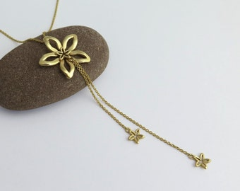14k Gold Flower Necklace - Y Necklace - Solid Gold - Fine Jewelry