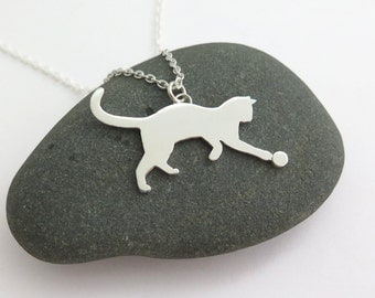 Cat Pendant Necklace – Playing Cat – Sterling Silver - Handmade