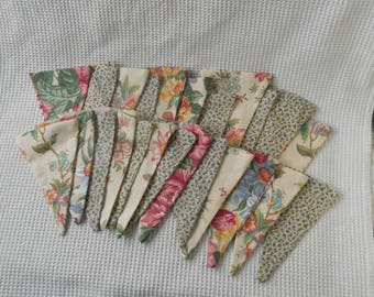 Bunting Pennants Fabric Colorful Collection 24 Chintz Florals  Cottage Chic