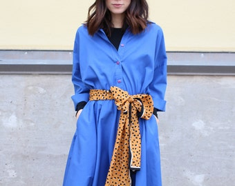vintage blue cotton midlength shirtdress