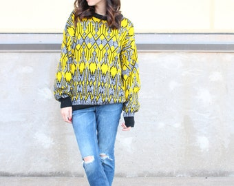 grey yellow black knit oversized vintage pullover sweater
