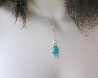 Mothers day. Leaf pendant, Leaf necklace, Y necklace, Botanical necklace, Green pendant necklace.