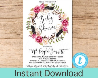 Boho Baby Shower Invitation, Watercolor Floral Wreath Baby Shower invite, Tribal Feather, Fall invite Editable baby shower, Instant Download