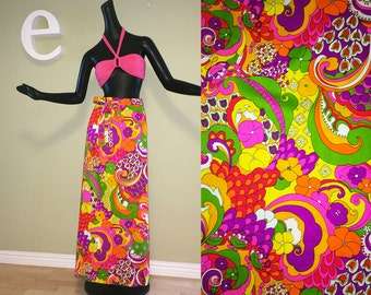 Vintage 60s MOD Maxi Skirt Psychedelic Hippie Boho Peter Max Style 1960s 1970s 70s Trippy Flower Power Hawaiian Print Tiki Oasis Size Small