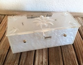 Reserved For May.....Mid Century White Flower Lucite Case