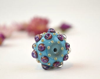 Blue boho bead, blue focal bead, murano glass bead, blue bumpy bead, lampwork bead, sra lampwork, bumpy focal bead, artisan focal bead