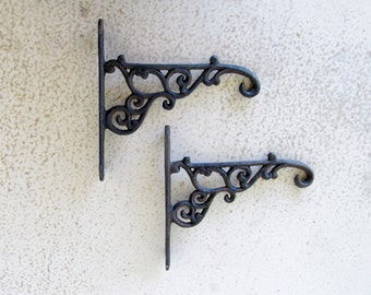 Vintage Cast Iron Shelf Brackets with Hooks Salvage Rustic Farmhouse Plant Hanger