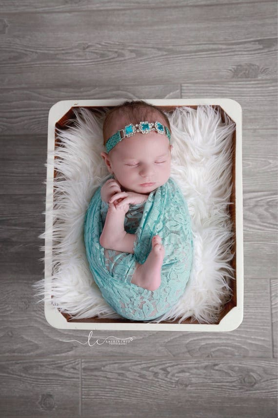 Aqua stretch lace swaddle wrap AND/OR silver and turquoise headband for newborn photo shoots, stretch lace, Lil Miss Sweet Pea