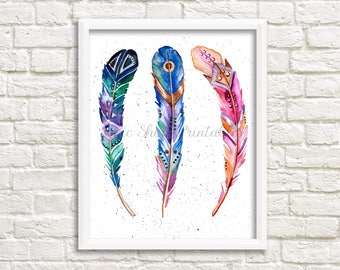 Colorful Boho Feather art, watercolor print, instant download, wall decor, office art, home decor, BOGO, 8x10 print