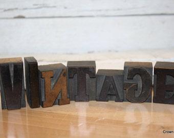 Vintage Letterpress Letters - Vintage Printing Decor - Wooden - Vintage Wording