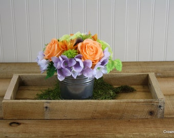 Silk Floral Arrangement - Home Decor - Office Decor - Peach - Purple - Green - Mother's Day - Gift Giving