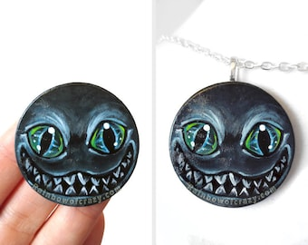 Cheshire Cat Necklace Alice in Wonderland, Hand Painted Wood Circle Pendant, Evil Smile, Blue & Black, Cat Lover, Goth Jewelry, Gift for Her