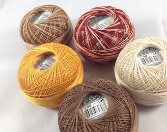 Lizbeth Tatting Thread -  Browns 5 Pack (Colors 611, 698, 168, 150, and 169) - Size 40 - Your Choice of Length
