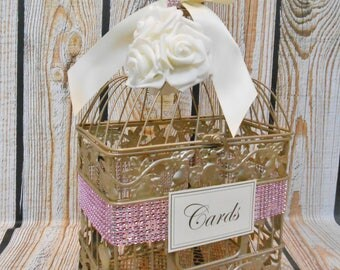 READY TO SHIP / Small Champagne Gold Birdcage Card Holder / Card Box / Wedding Card Holder / Bridal Shower / Sweet Sixteen / Baby Shower