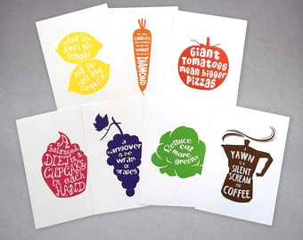 """Full Set of 7 Kitchen Art Prints with funny quotes, fit IKEA RIBBA frame 8x10"""" / 18 x 24 cm"""