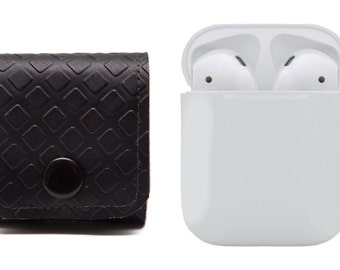AirPods Pouch Case, Earphones Cover. Carrying Solution. Vegan. Black Grey. WeirdOldSnail