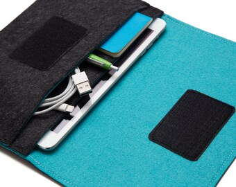 iPad Mini Tablet Sleeve Case Cover iPad mini Organizer. Can Get Customized. Dark Gray & Turquoise