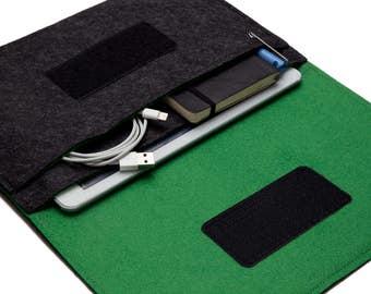 """iPad 9.7"""" Case. iPad Pro 10.5"""" Sleeve. iPad 12.9"""" Sleeve. iPad Air 2 Case - Dark Grey & Green"""