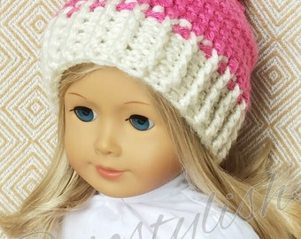 Crochet Pattern Doll Beanie Doll Hat 18 inch Doll Crochet Pattern American Girl Doll Hat Crochet Pattern