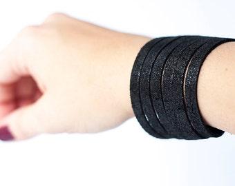 Leather Bracelet / Original Sliced Cuff / Outer Space