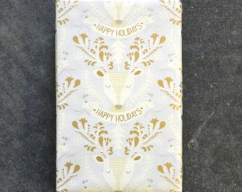 Golden Holiday Deer Christmas Wrapping Paper, 2 x 10 Feet