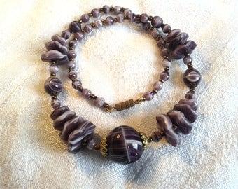 Vintage Edwardian Purple Slag Glass Bead Necklace.