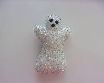 """Handmade Felt and Sequin GHOST Magnet  3 1/2""""h x 2 1/2""""w"""