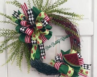 Summer Watermelon Grapevine wreath, Watermelon Wreath, Summer Wreath, Painted Grapevine Wreath