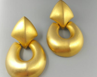 Givenchy Earrings, Big Door Knocker Style Earrings Signed Givenchy, Brushed Gold Clip On Earrings, Statement Jewelry
