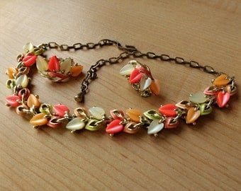 Fun Vintage Thermoset Necklace With Earrings Spring Candy Colored Moonglow