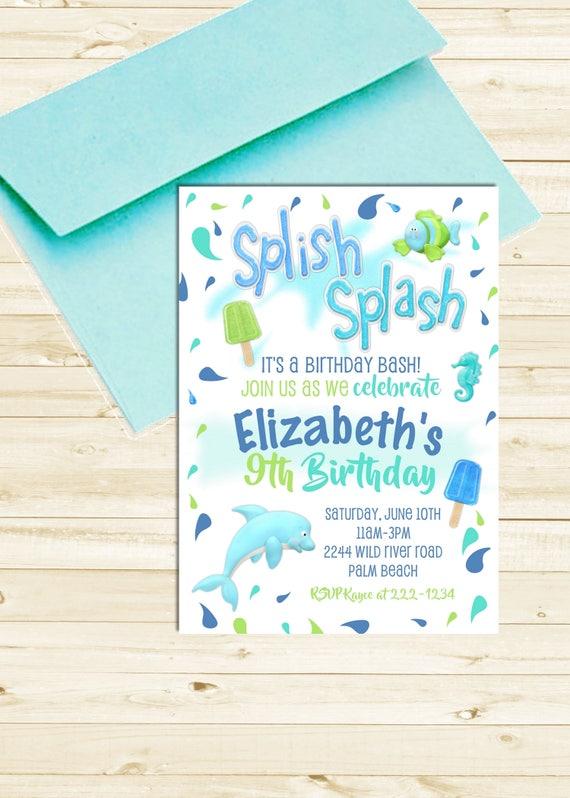 Pool Party Birthday Invitation, Boy or Girl Birthday Pool Party, Splish Splash Pool Party Invitation, Summer Birthday Invite