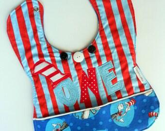 Appliqued Dr Seuss 1st birthday bib, Dr Seuss characters birthday, Unisex birthday gift, Dr Seuss 1st baby gift,Dr Seuss baby birthday party