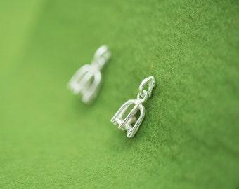 Mini bird cage earrings - Silver swing post earrings - Allergy-free earrings - Bird in each cage