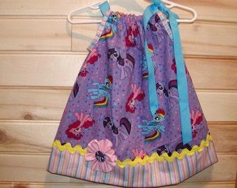 Girls Pillowcase Dress...My Little Pony N Rainbow Stripes...Custom. sizes 0-6, 6-12, 12-18, 18-24 months, 2T, 3T..Bigger sizes AVAILABLE