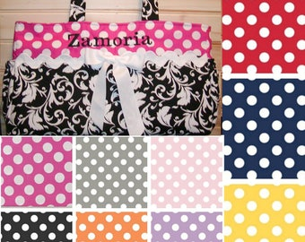 Diaper bag, handbag, purse, book..Black Scroll N Dots..Add Name and end pockets. Customize. Match your carseat canopy(see fashionfairytales)
