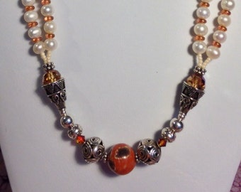Eclectic Agate and Pearl Necklace With Swarovski Crystal And Sterling Silver Beads