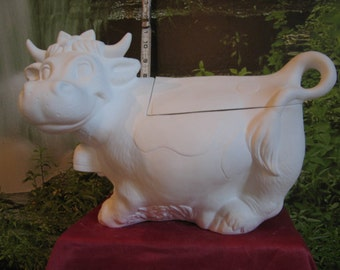 Vintage, cow cookie jar, farm Cow, Cow with bell, farm Cookie Jar, ready to paint, Ready to paint, Ceramic Bisque, u-paint