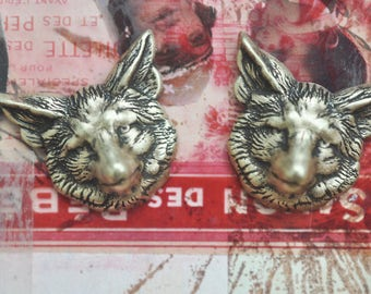 TWO Fox Head Brass Stampings, Brass Ox, Brass Foxes, Brass Ox Stampings