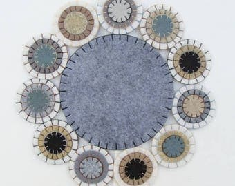 Candle Mat Wool Felt Blend, Handmade, Finished Ready To Ship Cloudy Day